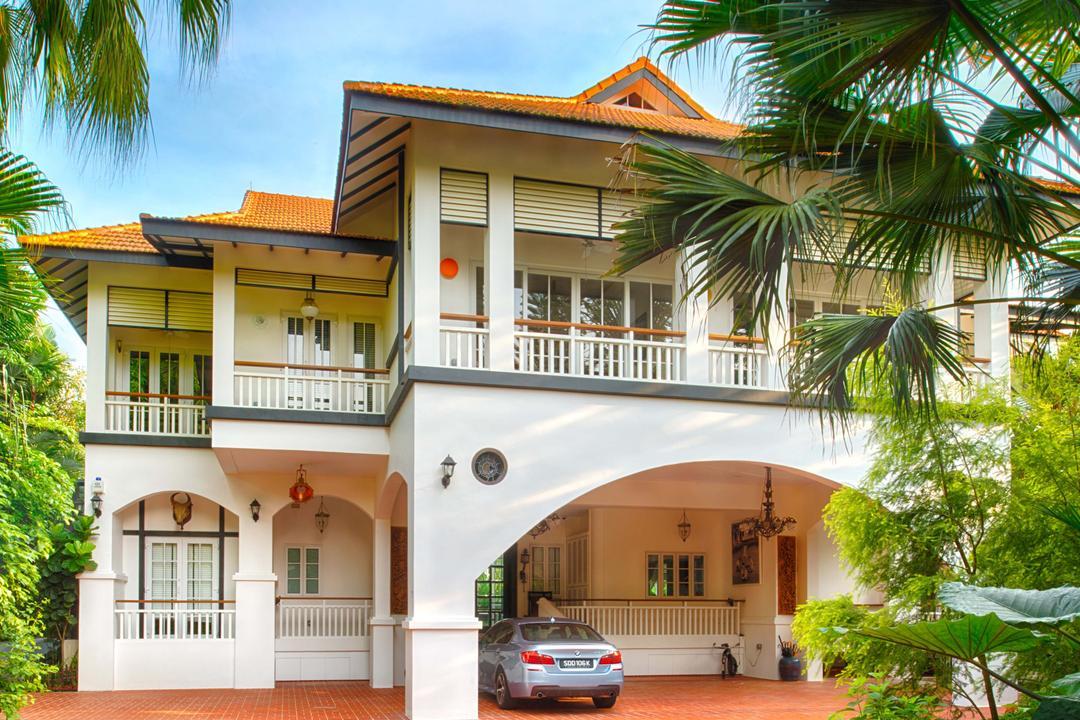 Bukit Sedap, TENarchitects, Modern, Landed, Colonial, Black And White, Bungalow, Building, House, Housing, Villa, Arecaceae, Flora, Palm Tree, Plant, Tree, Terrace
