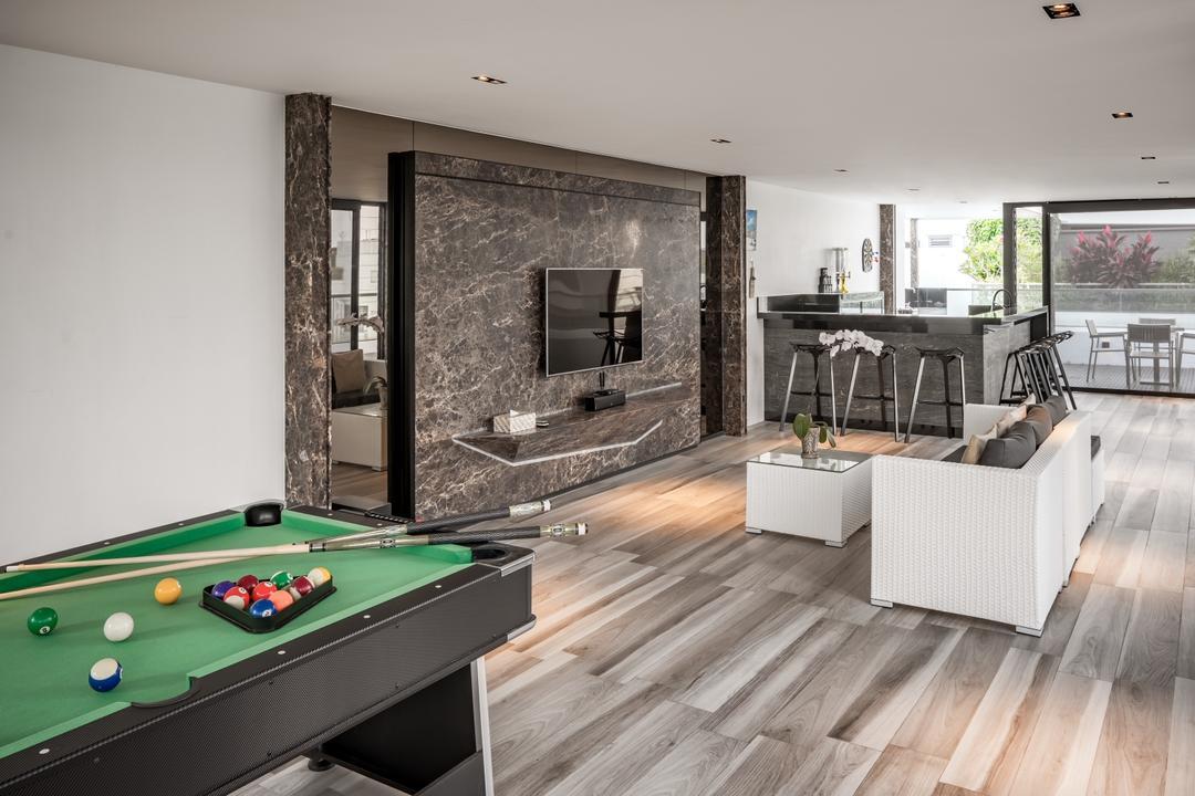 A Treasure Trove, T&T Design Artisan, Modern, Living Room, Condo, Pool, Entertainment, Billard, Flooring