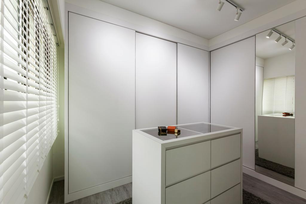 Minimalistic, HDB, Bedroom, Compassvale Crescent (Block 293), Interior Designer, The Interior Lab, Walk In Wardrobe, Wardrobe, Display Drawers, Wood Floor, Blinds, Track Light, White, Mirror, Curtain, Home Decor, Window, Window Shade