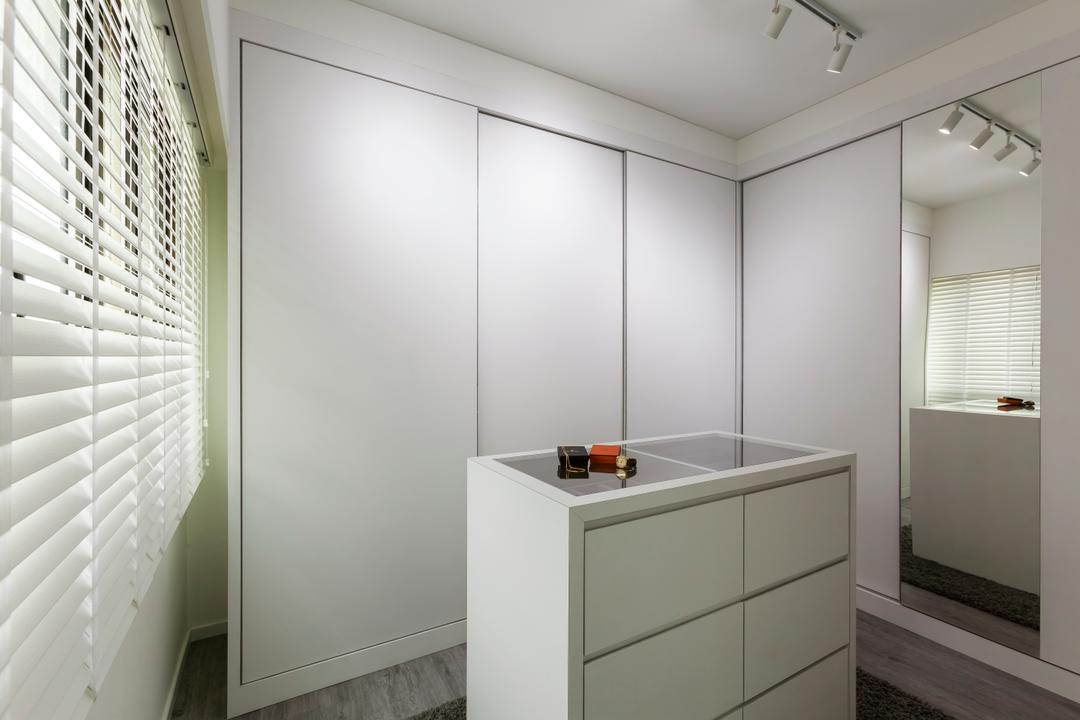 Compassvale Crescent (Block 293), The Interior Lab, Minimalistic, Bedroom, HDB, Walk In Wardrobe, Wardrobe, Display Drawers, Wood Floor, Blinds, Track Light, White, Mirror, Curtain, Home Decor, Window, Window Shade