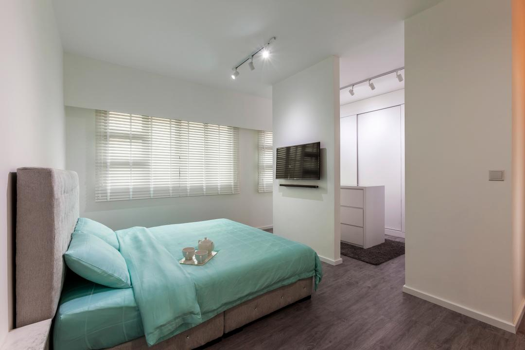 Compassvale Crescent (Block 293), The Interior Lab, Minimalistic, Bedroom, HDB, Turquoise, Blue, Tiffany Blue, Headboard, White, Clean, Simple, Girly, Girlish, Partition, Track Lights, Track Lighting, Blinds, Venetian Blinds, Indoors, Interior Design, Room
