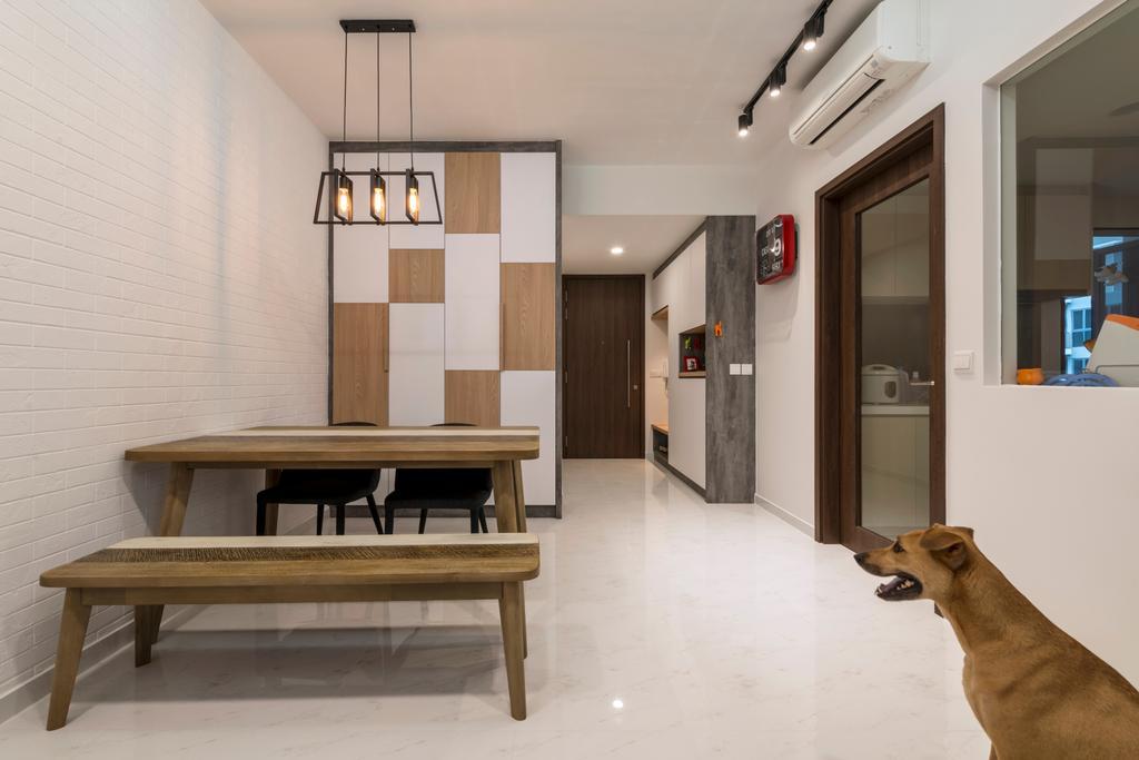 Scandinavian, Condo, Dining Room, Yishun Street 51, Interior Designer, Starry Homestead, Bench, Furniture, Animal