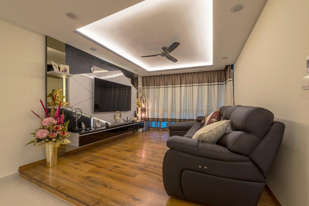 Modern, HDB, Living Room, Punggol Central, Interior Designer, Colourbox Interior, Couch, Furniture, Blossom, Flora, Flower, Flower Arrangement, Ornament, Plant, Indoors, Interior Design