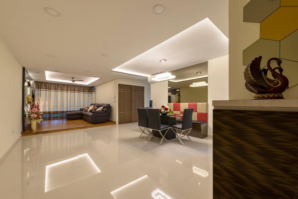 Modern, HDB, Living Room, Punggol Central, Interior Designer, Colourbox Interior, Flooring, Dining Table, Furniture, Table, Indoors, Interior Design