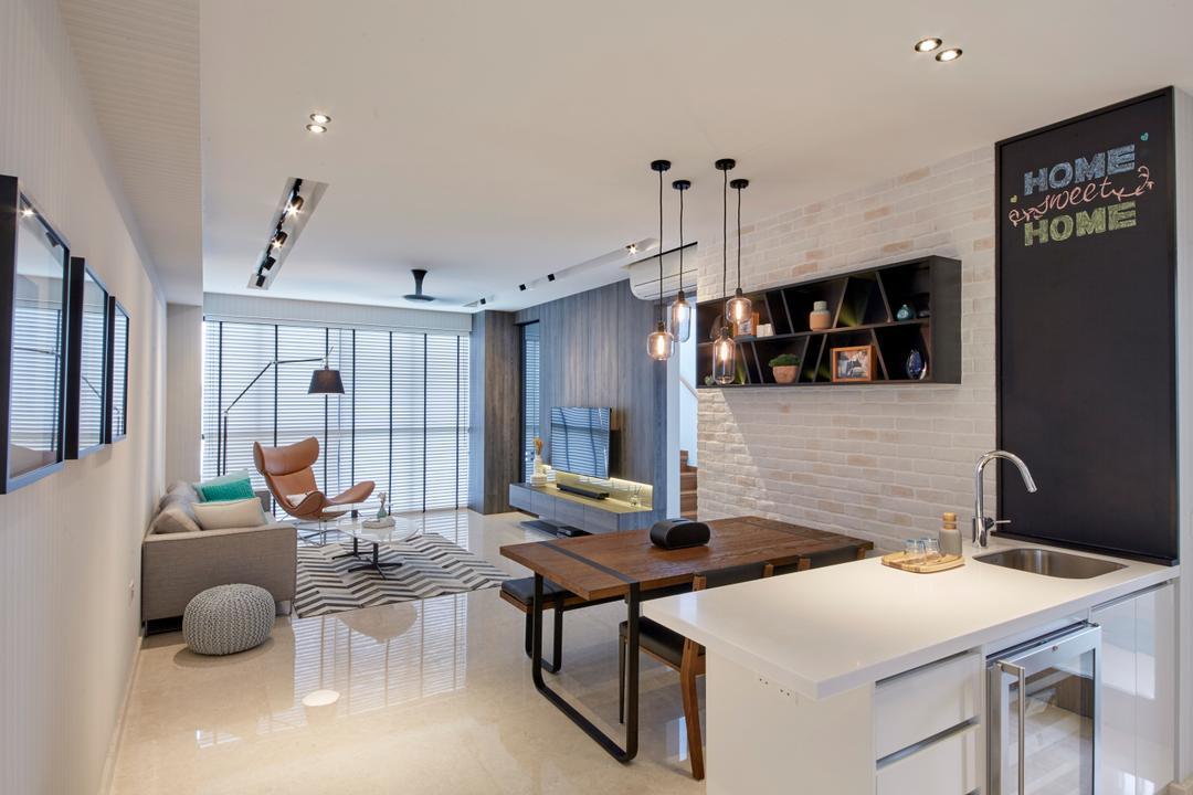 Flamingo Valley, Elements ID, Contemporary, Living Room, Condo, Dining Room, Indoors, Interior Design, Room, Blackboard