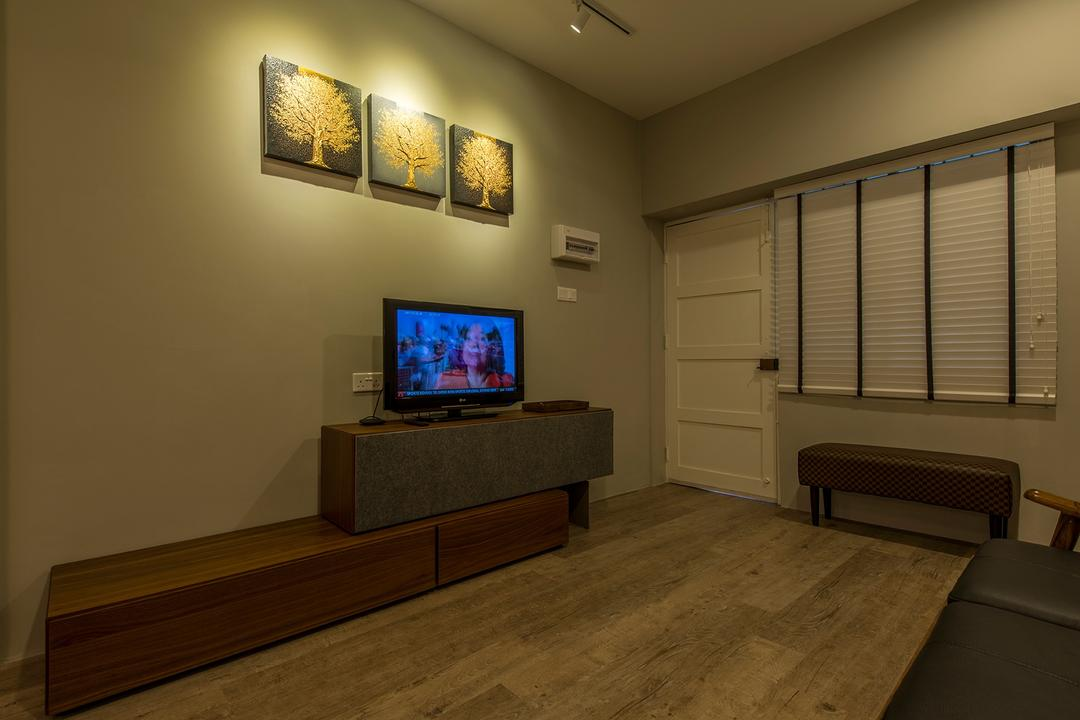 Holland Drive, Superhome Design, Industrial, Living Room, HDB, Blinds, Small Flat, Bench, Wood Flooring, Tv Console, Entrance, Hallway, Flooring, Electronics, Monitor, Screen, Tv, Television