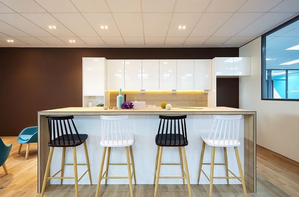 Mentor Media @Jalan Buroh, Commercial, Interior Designer, I-Bridge Design, Scandinavian, Bar Stool, Furniture, Dining Table, Table, Chair, Dining Room, Indoors, Interior Design, Room