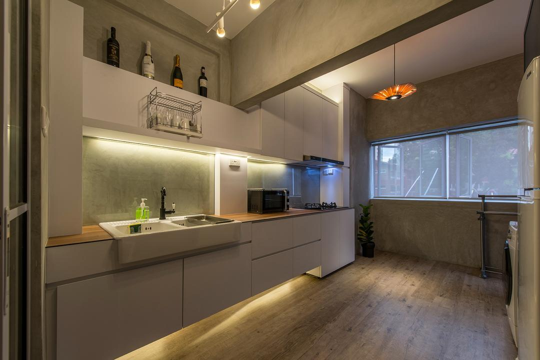 Holland Drive, Superhome Design, Industrial, Kitchen, HDB, Kitchen Cabinet, Cabinet, Downlight, Wood Flooring, Beams, Grey, Gray, Cement Screeding, Cement Screed, Vanity Sink, Countertop, Fridge, Blinds, Sink, Counter, Indoors, Interior Design, Bathroom, Room, Flooring