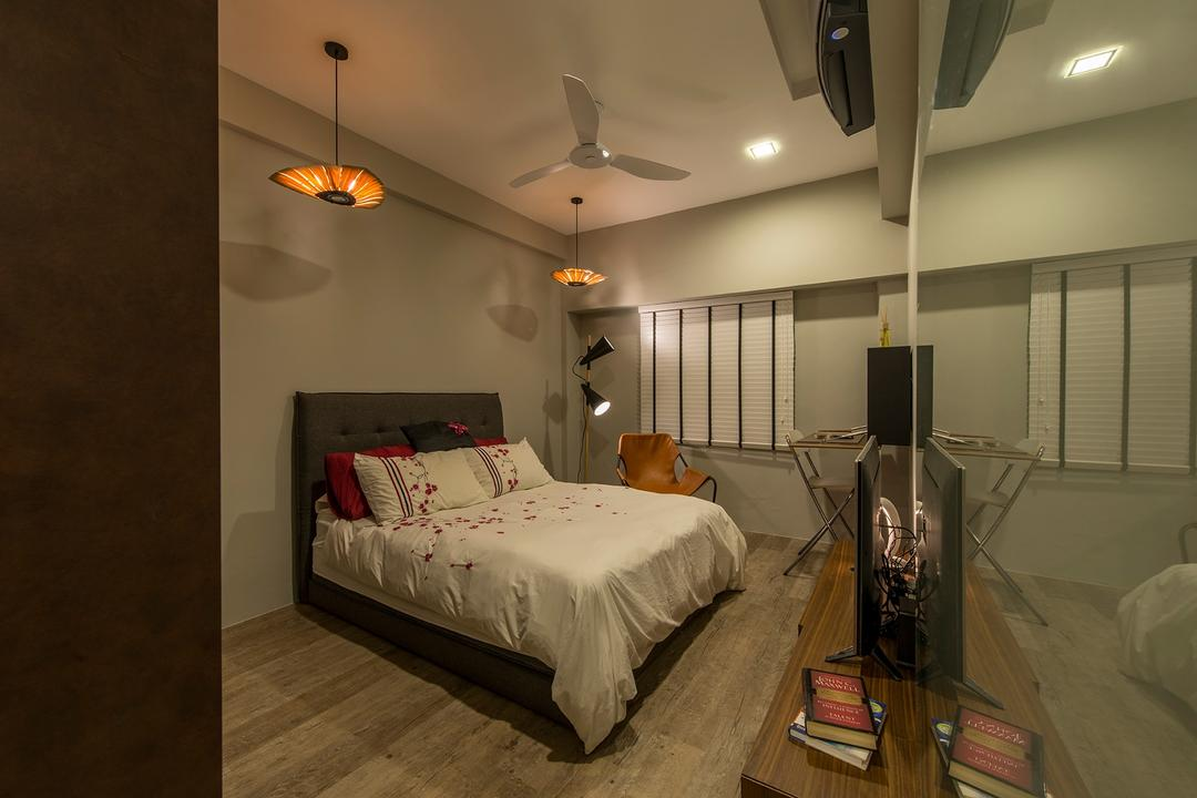 Holland Drive, Superhome Design, Industrial, Bedroom, HDB, Bedside Lamps, Ceiling Lamps, Pendant Lamps, Sliding Door, Tv Console, Blinds, Armchair, Leather Chair, Modern Contemporary Bedroom, Recessed Light, Bed, Furniture