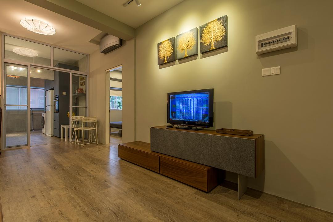 Holland Drive, Superhome Design, Industrial, Living Room, HDB, Wall Art, Simple, Tv Console, Wood Flooring, Walkway, Small Flat, Modern Contemporary Living Room, Television Console, Ceiling Lights, Door, Sliding Door, Flooring, Electronics, Monitor, Screen, Tv, Television