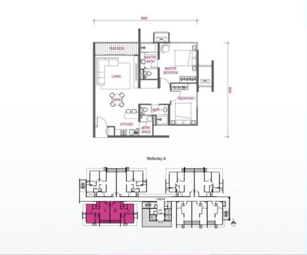 Contemporary, Condo, Wellesley Residences, Interior Designer, Zeng Interior Design Space, Floor Plan, Diagram, Plan