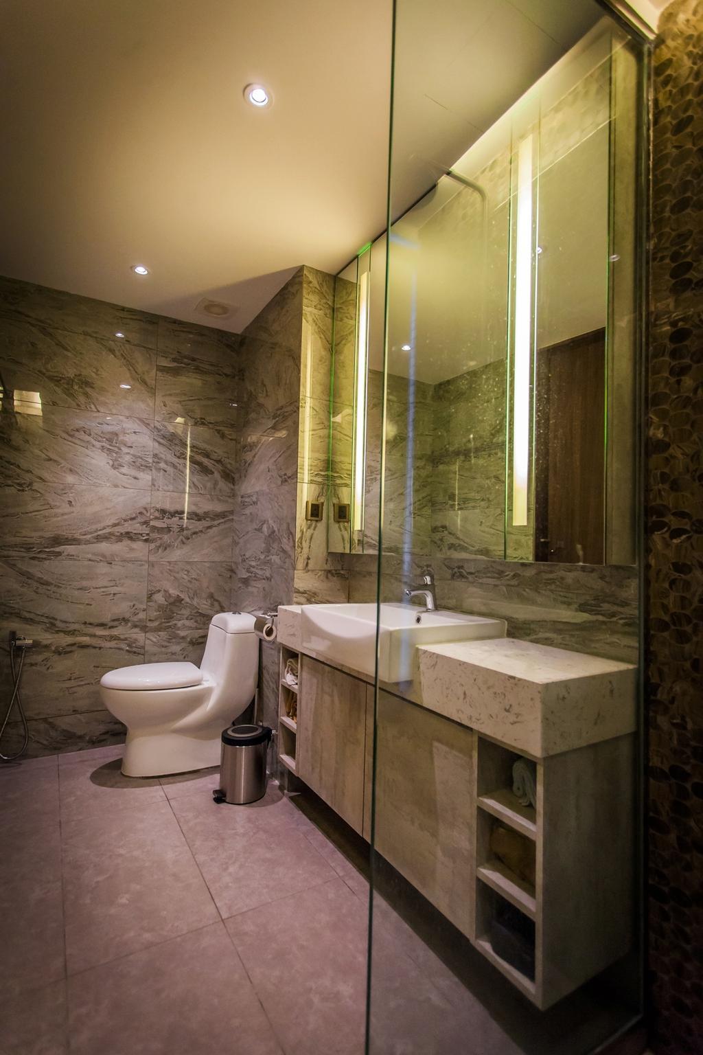 Contemporary, Condo, Bathroom, Wellesley Residences, Interior Designer, Zeng Interior Design Space, Bathroom Tiles, Marble, Bathroom Sink, Sink, Bathroom Vanity, Toilet, Indoors, Interior Design, Room