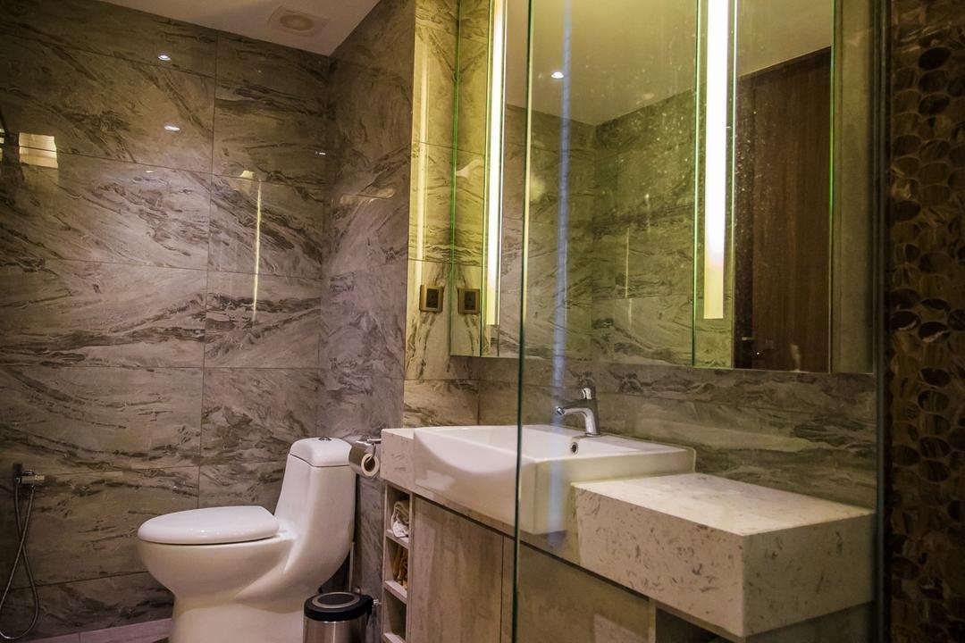 Wellesley Residences, Zeng Interior Design Space, Contemporary, Bathroom, Condo, Bathroom Tiles, Marble, Bathroom Sink, Sink, Bathroom Vanity, Toilet, Indoors, Interior Design, Room