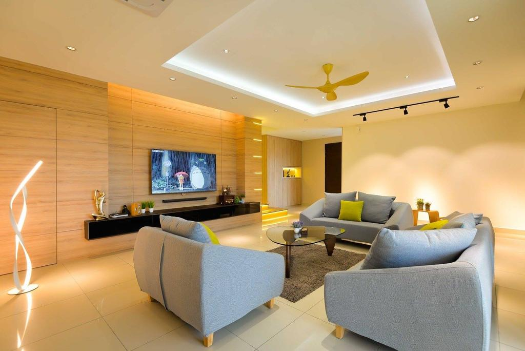 Contemporary, Landed, Living Room, Laman Rimbunan, Kepong, Interior Designer, Torch Empire, Couch, Furniture, Electronics, Entertainment Center, Home Theater, Conference Room, Indoors, Interior Design, Meeting Room, Room