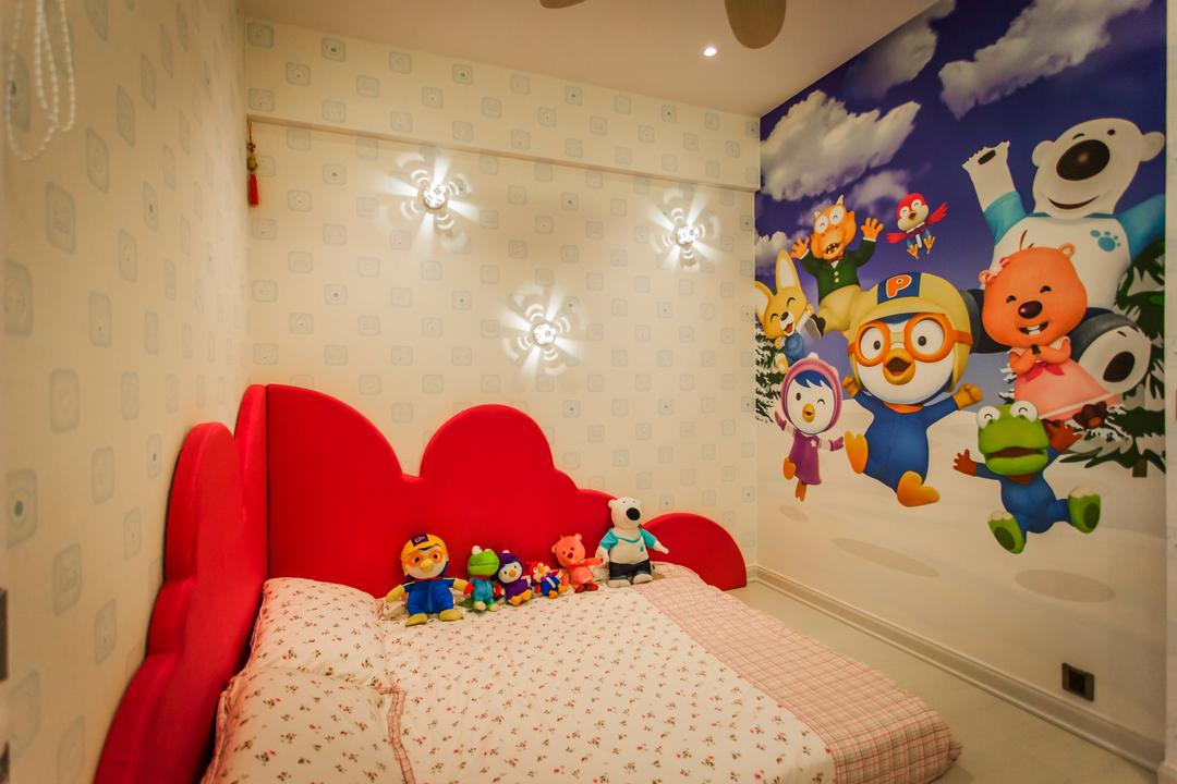Wellesley Residences, Zeng Interior Design Space, Contemporary, Bedroom, Condo, Pororo, Cartoon, Curtains, Bedsheet, Red, Wallpaper, Toys, Kids, Kids Room, Chair, Furniture
