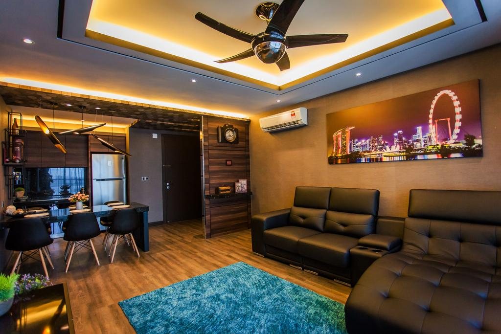 Contemporary, Condo, Living Room, Wellesley Residences, Interior Designer, Zeng Interior Design Space, Sofa, Couch, Leather Sofa, L Shape Sofa, Carpet, False Ceiling, Cove Lighting, Ceiling Fan, Brown, Painting, Wall Frames, Wood, Furniture, Indoors, Room