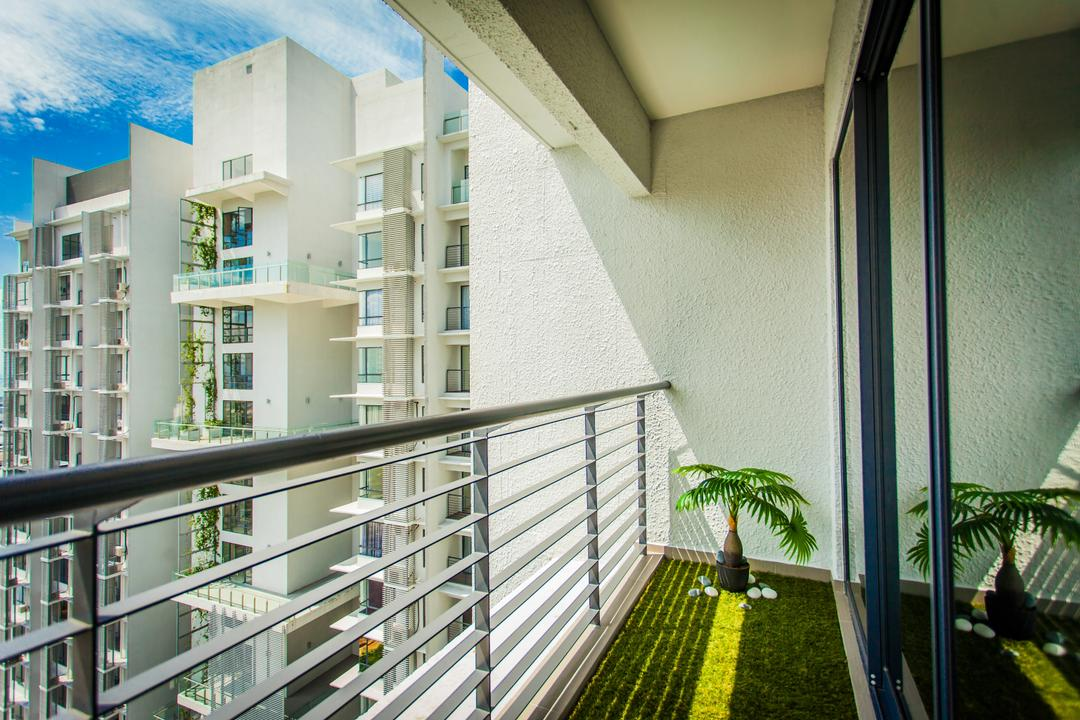 Wellesley Residences, Zeng Interior Design Space, Contemporary, Balcony, Condo, Artificial Grass, Plant, Plans, Flora, Jar, Potted Plant, Pottery, Vase, Building, Housing