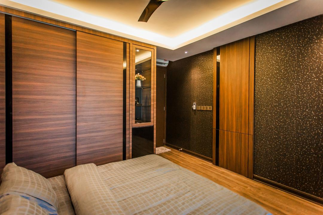 Wellesley Residences, Zeng Interior Design Space, Contemporary, Bedroom, Condo, Wardrobe, Concealed Lighting, Cove Lighting, Bed, Parquet, Brown, Wallpaper