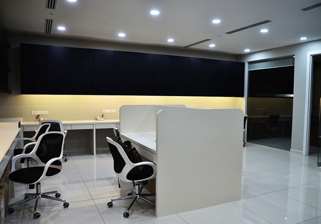Binjai Soho, Commercial, Interior Designer, Spazio Design Sdn Bhd, Modern, Office, Monochrome, Black And White, B W, Concealed Lighting, Cubicle, Office Chairs, Sink, Conference Room, Indoors, Meeting Room, Room, Chair, Furniture