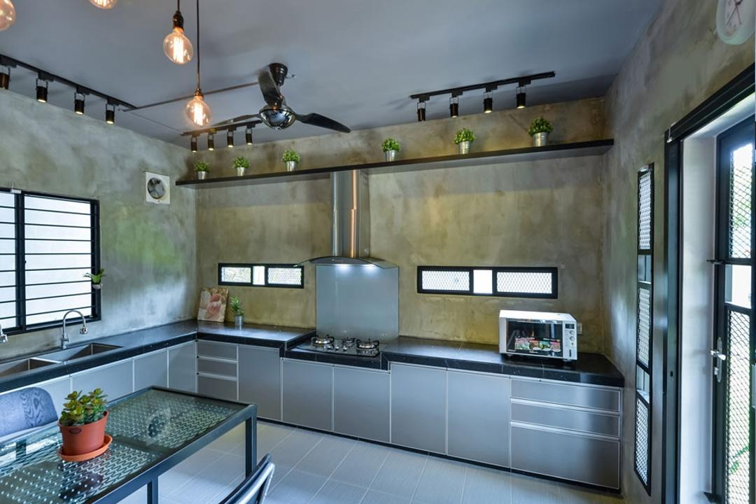 Lake Fields, Spazio Design Sdn Bhd, Industrial, Kitchen, Landed, Exhaust Hood, Ceiling Fan, Pendant Lamp, Hanging Lamp, Kitchen Cabinet, Cabinetry, Cement Screed, Track Lights, Track Lighting, Grilles, Light Fixture, Flora, Jar, Plant, Potted Plant, Pottery, Vase