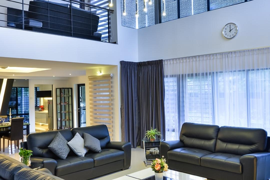 Lake Fields, Spazio Design Sdn Bhd, Industrial, Living Room, Landed, Pendant Lamp, Hanging Lamp, Sofa, Couch, Pillows, Leather Sofa, Coffee Table, Architecture, Building, Skylight, Window, Furniture, Indoors, Interior Design