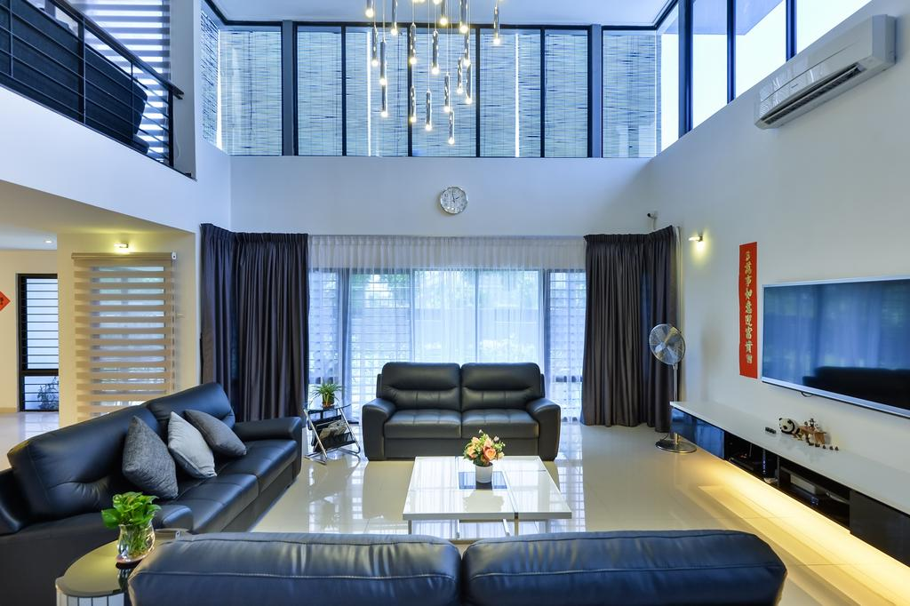 Industrial, Landed, Living Room, Lake Fields, Interior Designer, Spazio Design Sdn Bhd, Pendant Lamps, Hanging Lamps, Sofa, Couch, Pillows, Leather Sofa, Tv Cabinet, Coffee Table, Tv Console, Curtain, Furniture, Architecture, Building, Skylight, Window, Indoors, Interior Design