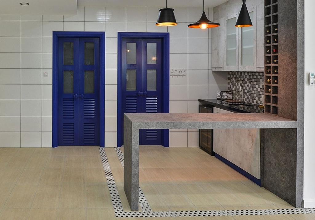 Contemporary, Landed, Kitchen, Rafflesia, Interior Designer, Spazio Design Sdn Bhd, Pendant Lamps, Hanging Lamp, Countertop, Kitchen Countertop, Blue, Door, Kitchen Cabinet, Wine Shelf, Backsplash