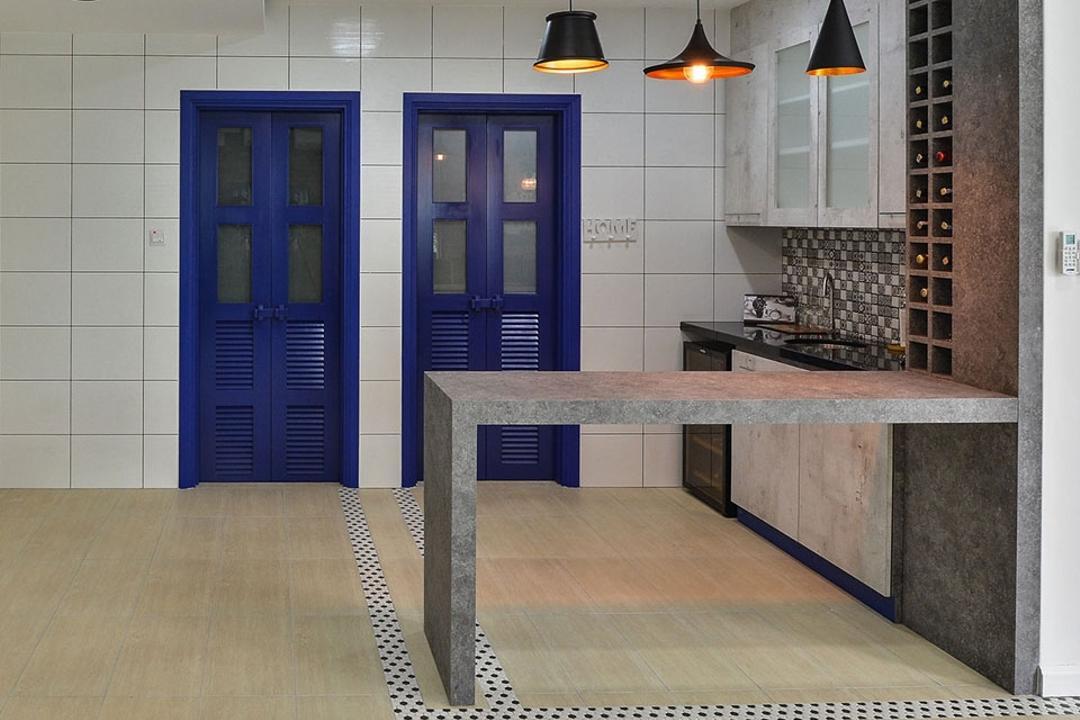Rafflesia, Spazio Design Sdn Bhd, Contemporary, Kitchen, Landed, Pendant Lamps, Hanging Lamp, Countertop, Kitchen Countertop, Blue, Door, Kitchen Cabinet, Wine Shelf, Backsplash