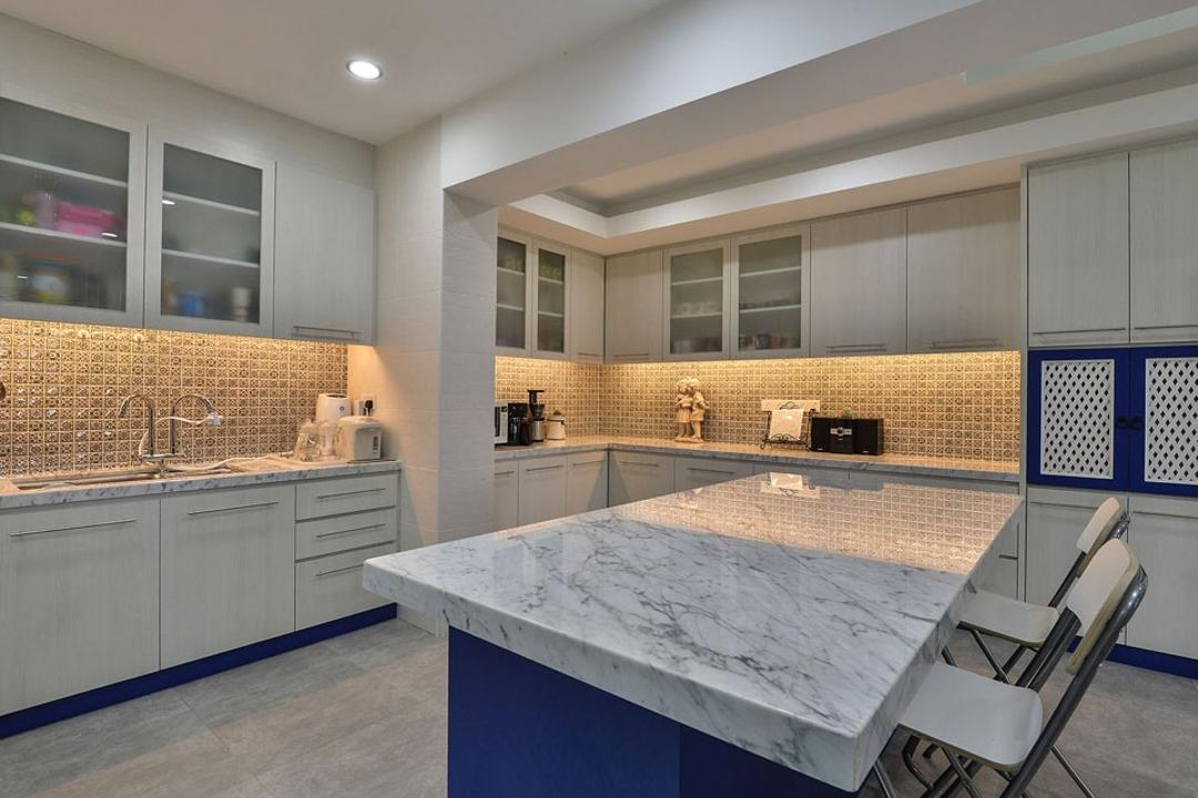 Rafflesia, Spazio Design Sdn Bhd, Contemporary, Kitchen, Landed, Kitchen Island, Kitchen Cabinet, Cabinetry, Marble, Backsplash, Concealed Lighting, Blue, Marble Countertop, Chair, Furniture