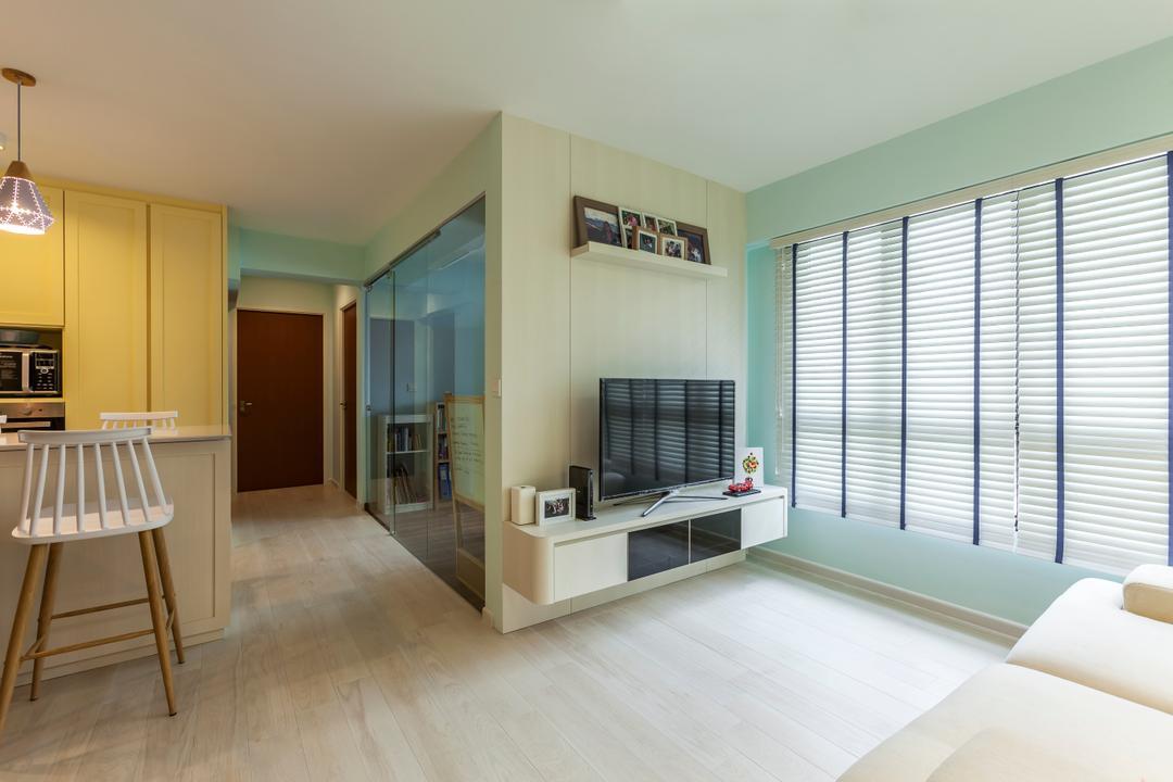 Ghim Moh Link, The Interior Lab, Scandinavian, Living Room, HDB, Flooring, Indoors, Office, Interior Design