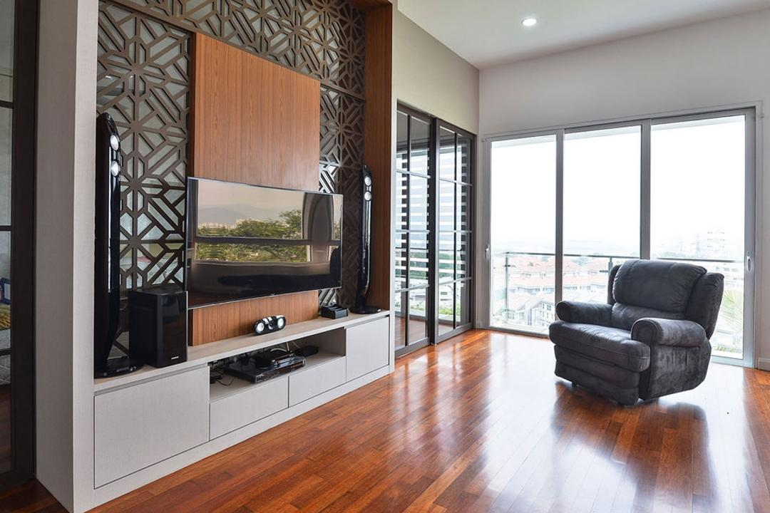 Rafflesia, Spazio Design Sdn Bhd, Contemporary, Living Room, Landed, Armchair, Feature Wall, Tv Console, Tv Cabinet, Oriental, Partition, Parquet, Wooden Flooring, Wood Floor, Hardwood, Wood, Chair, Furniture