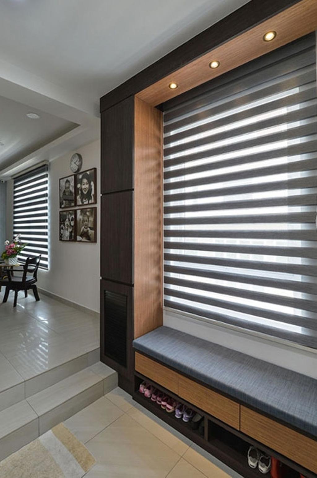 Contemporary, Landed, Rafflesia, Interior Designer, Spazio Design Sdn Bhd, Shoe Cabinet, Window, Blinds, Entrance, Bench