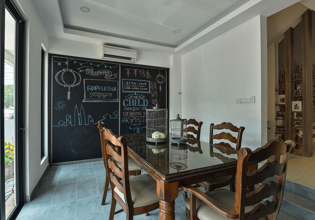Contemporary, Landed, Dining Room, Rafflesia, Interior Designer, Spazio Design Sdn Bhd, Dining Table, Dining Room Chairs, Wood, Chalkboard, Chalkboard Wall, Home Decor, Chair, Furniture, Indoors, Reception, Reception Room, Room, Waiting Room