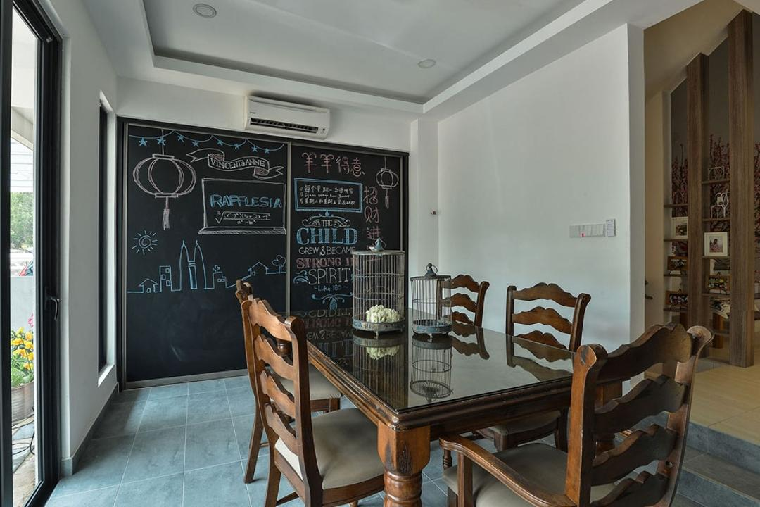 Rafflesia, Spazio Design Sdn Bhd, Contemporary, Dining Room, Landed, Dining Table, Dining Room Chairs, Wood, Chalkboard, Chalkboard Wall, Home Decor, Chair, Furniture, Indoors, Reception, Reception Room, Room, Waiting Room