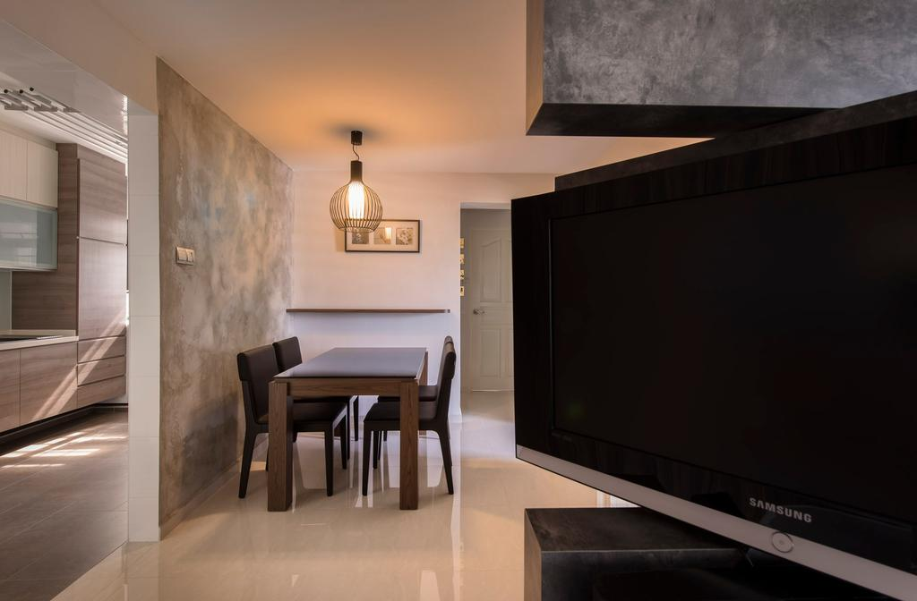 Modern, HDB, Dining Room, Clementi Avenue, Interior Designer, D5 Studio Image, Dining Chairs, Dining Table, Tiles, Handing Light, Dining Light, Partition, Electronics, Monitor, Screen, Tv, Television, Furniture, Table, Chair, Indoors, Interior Design, Lcd Screen