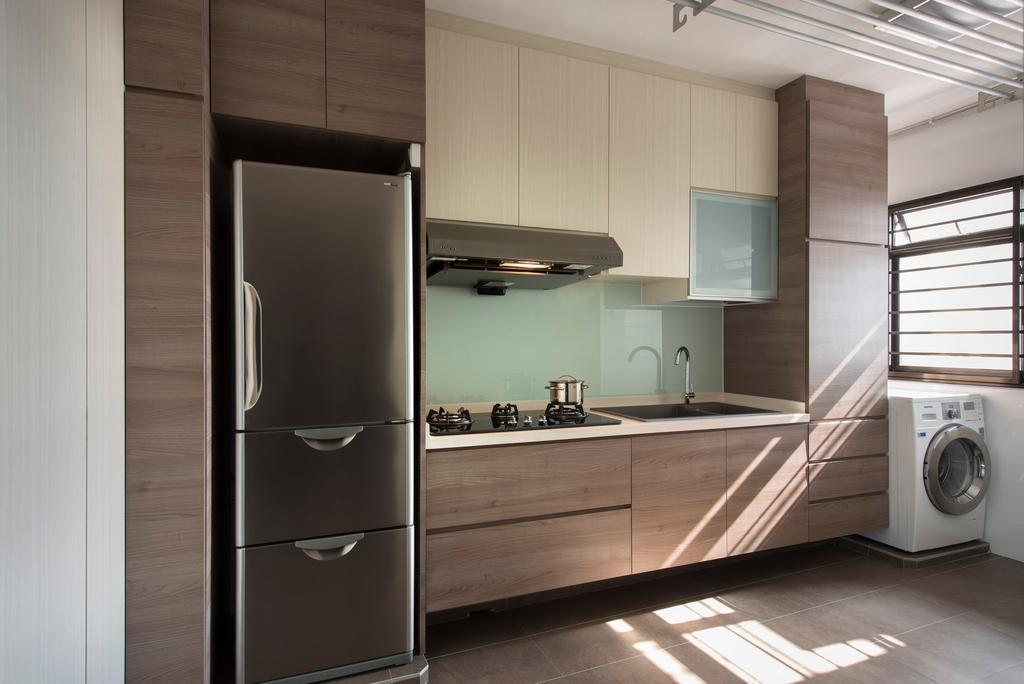 Modern, HDB, Kitchen, Clementi Avenue, Interior Designer, D5 Studio Image, Fridge, Stove, Hood, Drawers, Cabinets, Washing Machine, Tiles, Laminate, Brown, Airy, Bright, Expansive, Appliance, Electrical Device, Washer