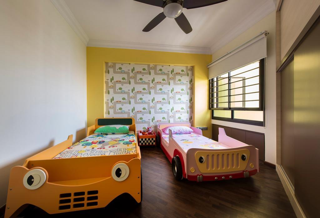 Modern, HDB, Bedroom, Clementi Avenue, Interior Designer, D5 Studio Image, Ceiling Fan, Car Beds, Kids Bed, Wall Paper, Wood Floor, Wardrobe, Sliding Door, Blinds, Kids Room, Children, Child, Kiddish, Kids