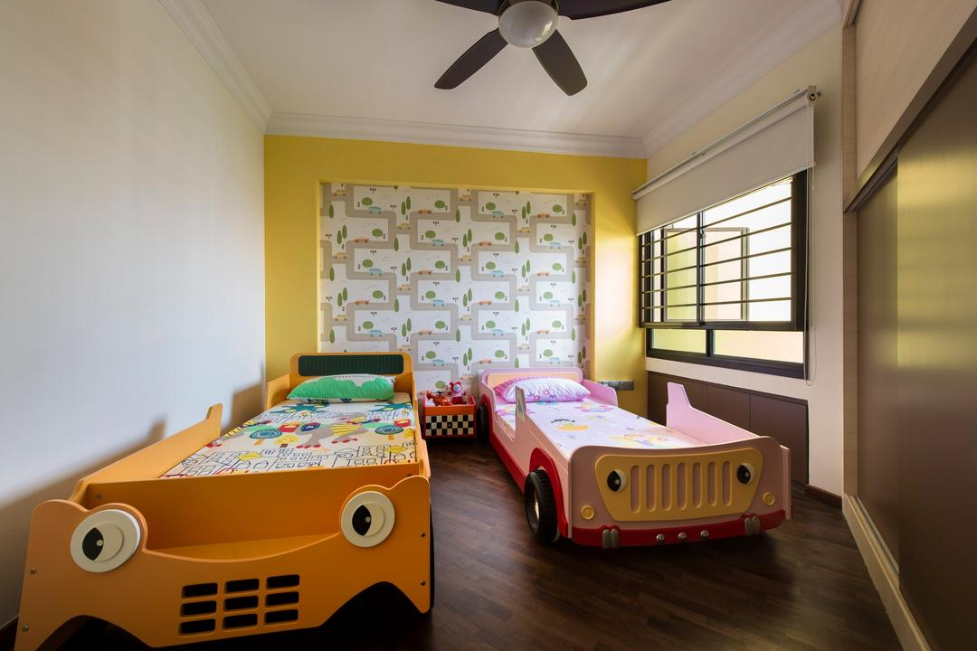 Clementi Avenue, D5 Studio Image, Modern, Bedroom, HDB, Ceiling Fan, Car Beds, Kids Bed, Wall Paper, Wood Floor, Wardrobe, Sliding Door, Blinds, Kids Room, Kids Room, Children, Kids Bed, Child, Kiddish, Kids