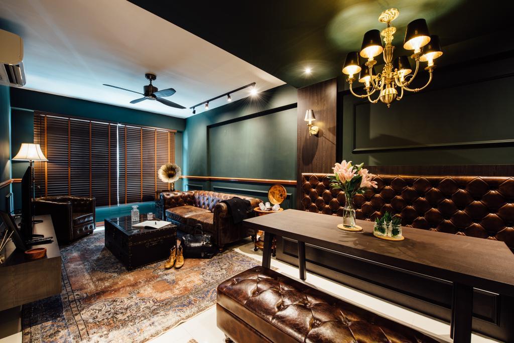 Eclectic, HDB, Dining Room, Sumang Walk, Interior Designer, Fatema Design Studio, Chandelier, Lamp, Indoors, Interior Design, Room, Flora, Jar, Plant, Potted Plant, Pottery, Vase, Lighting