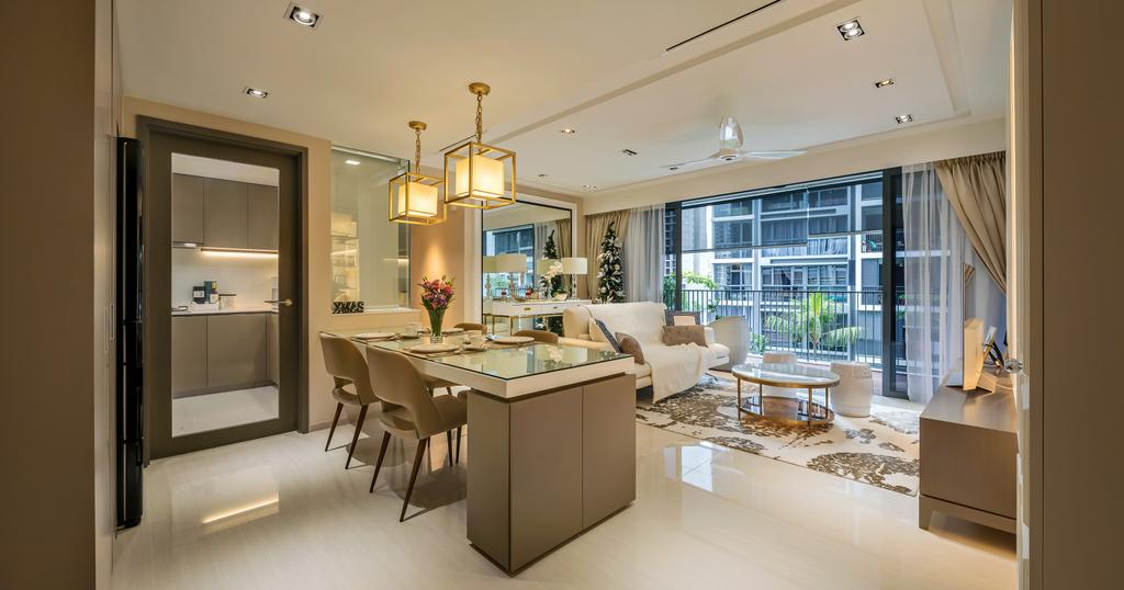 Modern, Condo, Dining Room, Bellewaters, Interior Designer, Anhans Interior Design, Minimalist, Dining Table, Furniture, Table, Indoors, Interior Design, Room