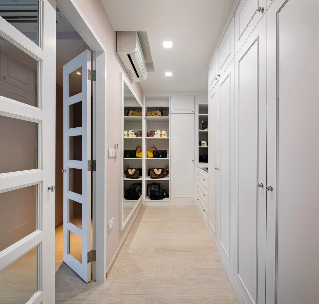 Modern, Condo, Bedroom, Bellewaters, Interior Designer, Anhans Interior Design, Minimalist, Walk In Wardrobe, Wardrobe, Dresser, Molding, Pantry, Shelf