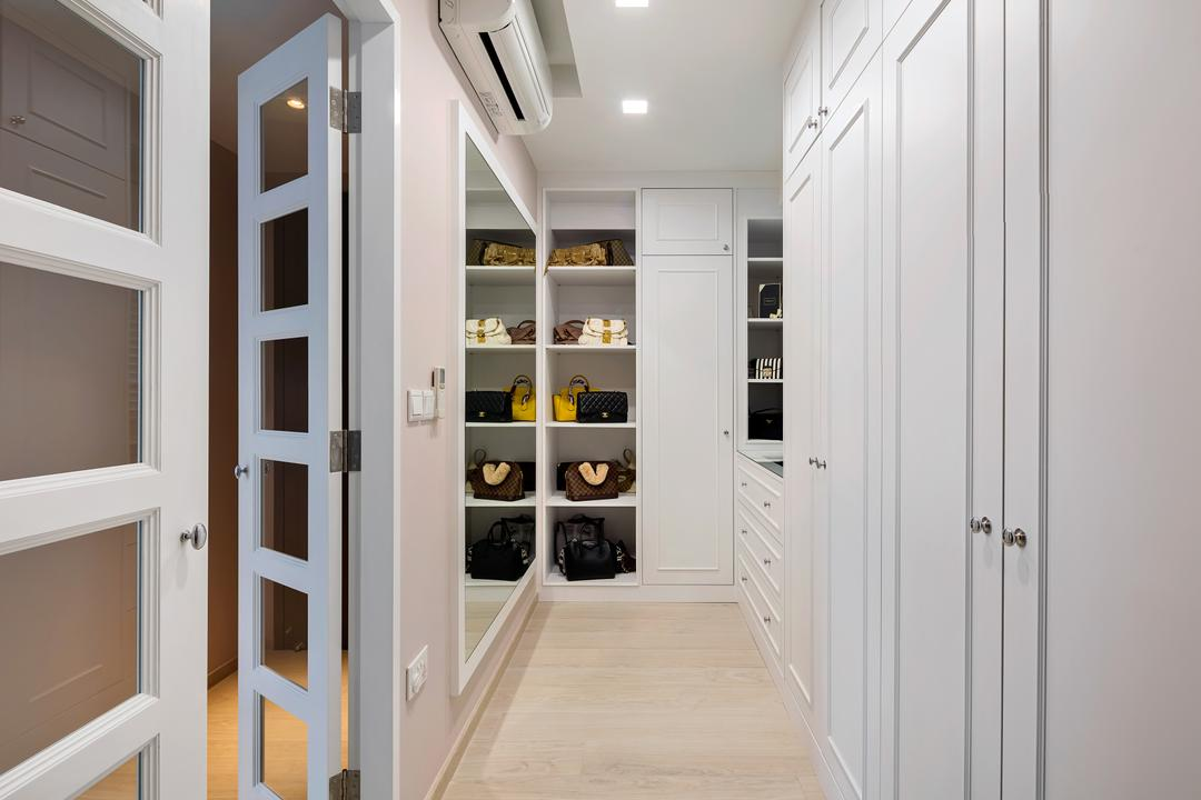 Bellewaters, Anhans Interior Design, Modern, Minimalistic, Bedroom, Condo, Walk In Wardrobe, Wardrobe, Dresser, Molding, Pantry, Shelf