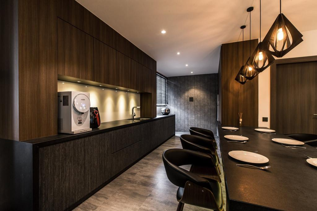 Contemporary, Condo, Latitude (Type C), Interior Designer, Nevermore Group, Chair, Furniture, Appliance, Electrical Device, Microwave, Oven, Indoors, Interior Design, Dining Room, Room