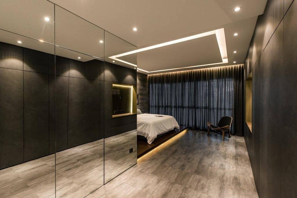 Contemporary, Condo, Bedroom, Latitude (Type C), Interior Designer, Nevermore Group, Corridor, Bed, Furniture, Indoors, Room