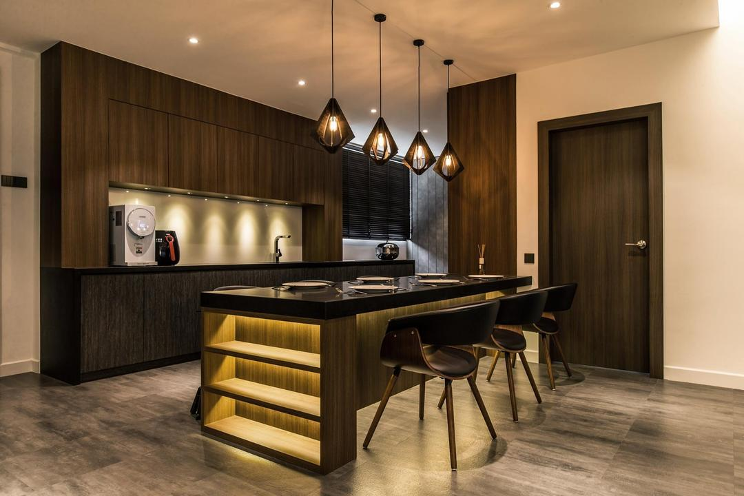 Latitude (Type C), Nevermore Group, Contemporary, Kitchen, Condo, Dining Table, Furniture, Table, Dining Room, Indoors, Interior Design, Room, Restaurant, Hardwood, Wood