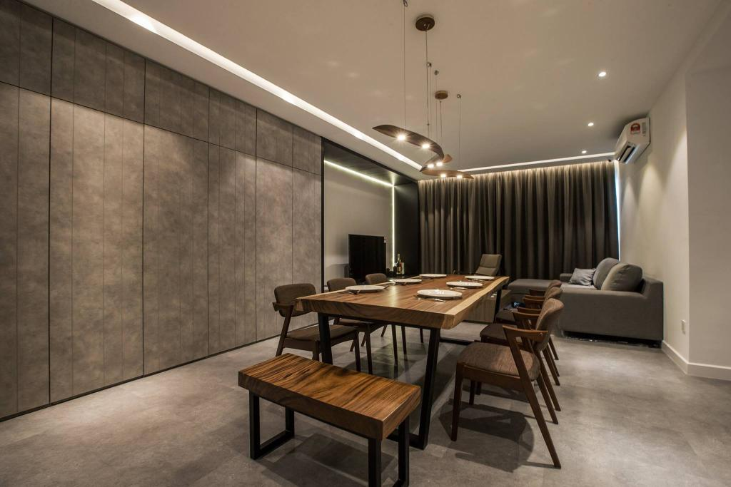 Contemporary, Condo, Living Room, Latitude (Type B), Interior Designer, Nevermore Group, Couch, Furniture, Chair, Dining Table, Table, Indoors, Interior Design