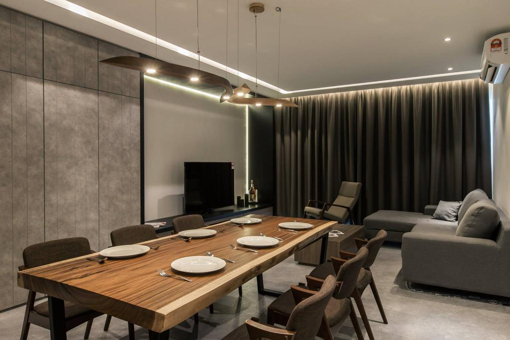 Contemporary, Condo, Dining Room, Latitude (Type B), Interior Designer, Nevermore Group, Dining Table, Furniture, Table, Chair, Conference Room, Indoors, Meeting Room, Room