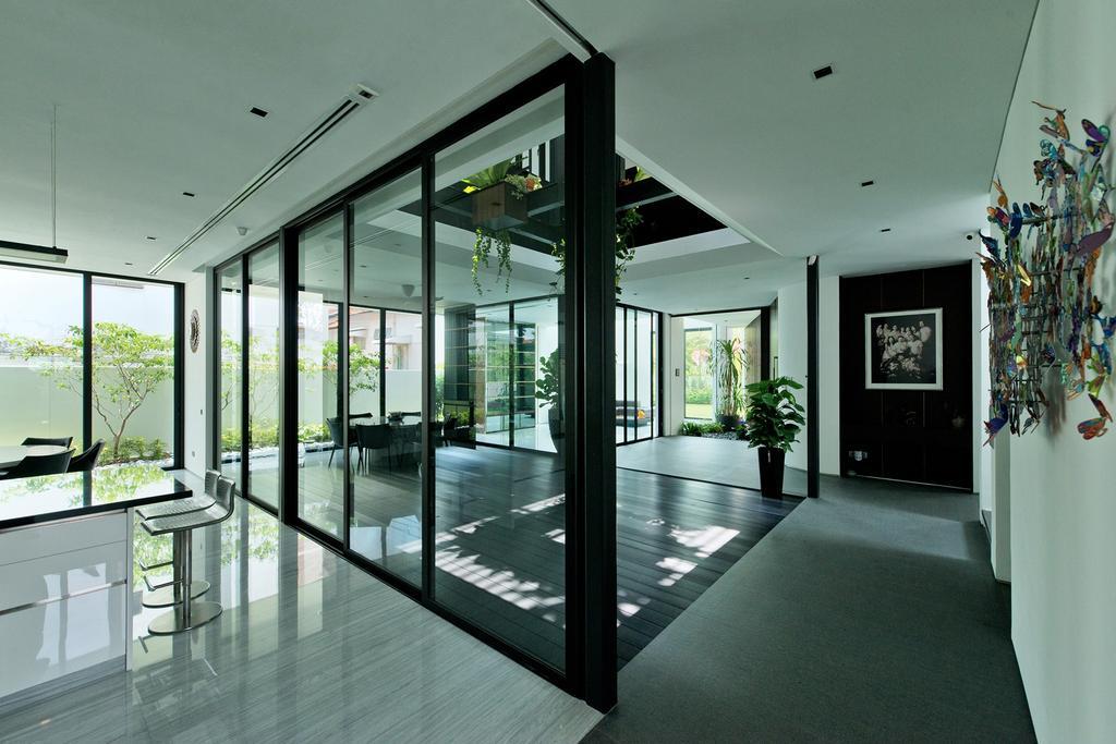 Modern, Landed, Living Room, Tosca Street, Architect, Kite Studio Architecture, Glassy, Glass Windows, Palnts, Door, Sliding Door