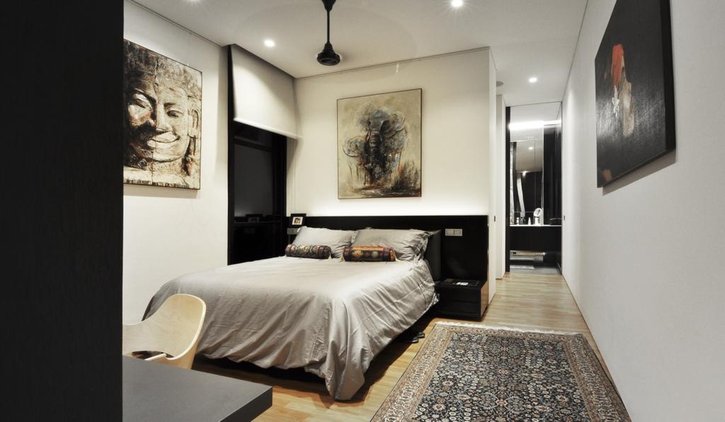 Modern, Landed, Bedroom, Palm Drive, Architect, Kite Studio Architecture, Bed, Ceiling Fan Down Light, Art Pieces, Wood Floor, Carpet, Study Desk, Furniture, Art, Modern Art, Indoors, Interior Design, Room