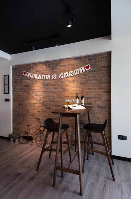 Scandinavian, HDB, Dining Room, Yishun (Block 316), Interior Designer, KDOT, Brick Wall, Red Brick Wall, Brown Brick Wall, Bar Stool, Bar Chairs, Bar Table, Wood Floor, Dining Table, Furniture, Table, Chair